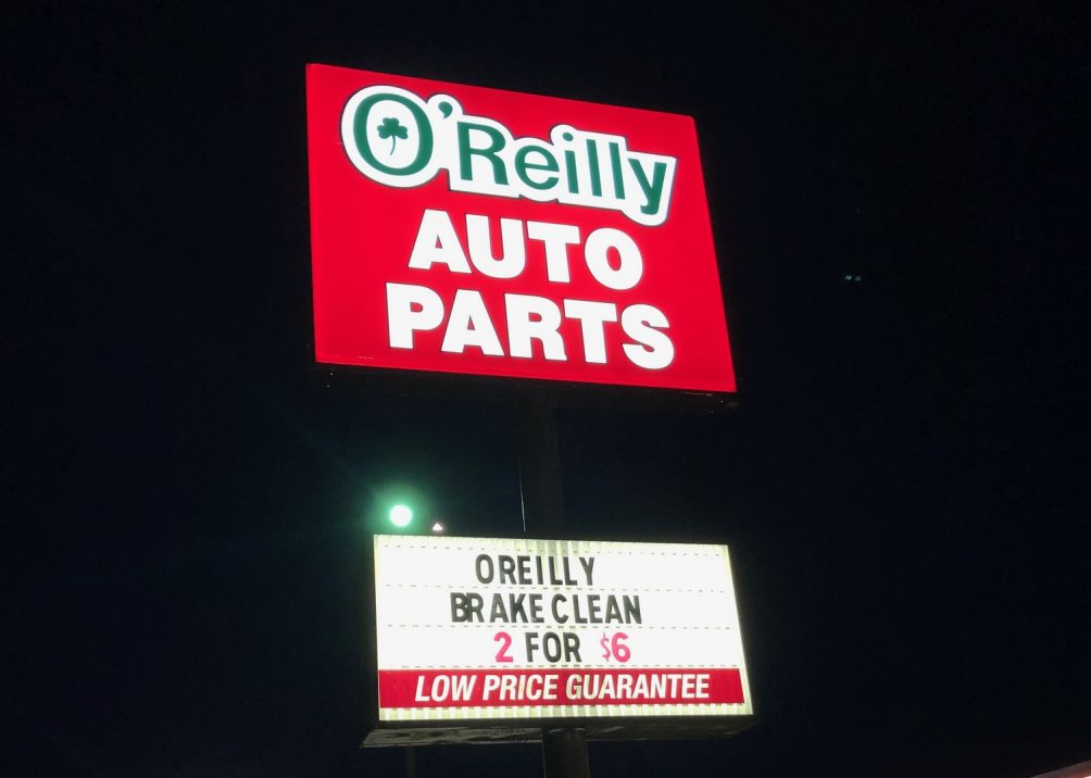 Exterior Lighted Sign Repair and Refurbishment for O'Reilly Auto Parts